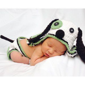 * Newborn Photos Knit Doggy Puppy Outfit Costume *